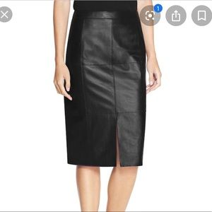 WHBM Black Leather Pencil Skirt